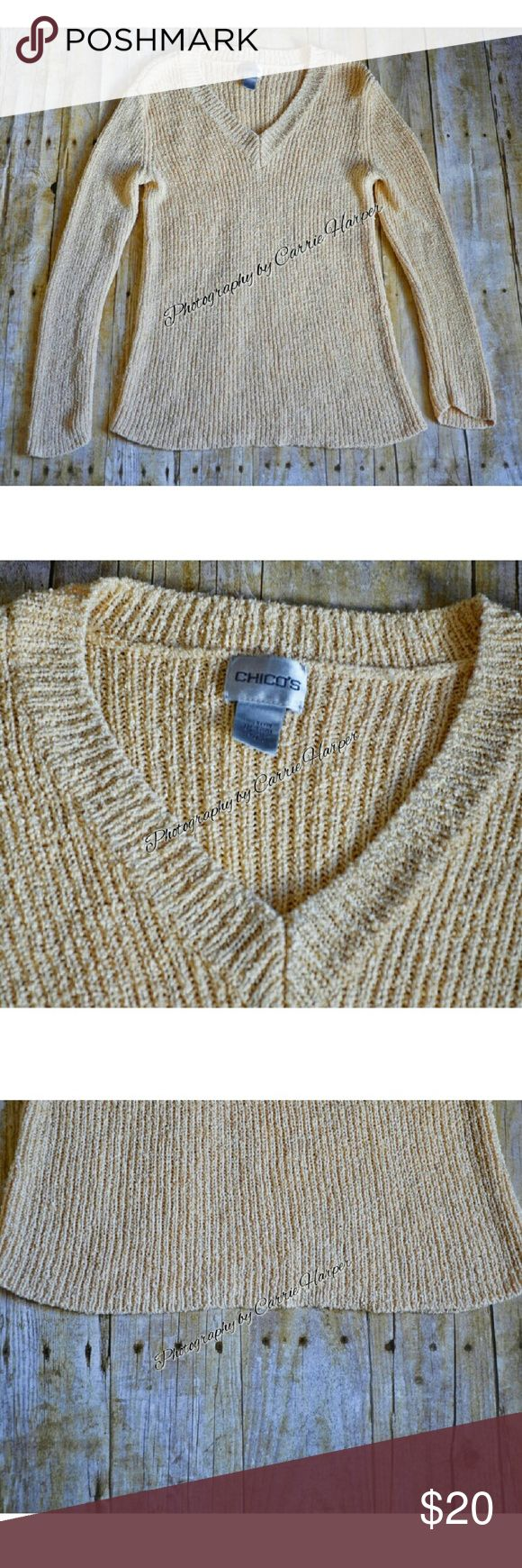 Women's V Neck Sweater by Chico's Size 2 (large) Absolutely gorgeous in person! 100% Rayon Bust 34 inches Length 28 Inches This sweater has some weight to it! Smoke free, dog friendly home Chico's Sweaters V-Necks