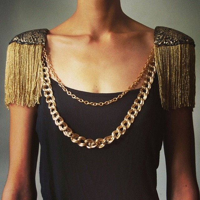 DIY gold chain fringed shoulder pads. AKA Shouldies ;)