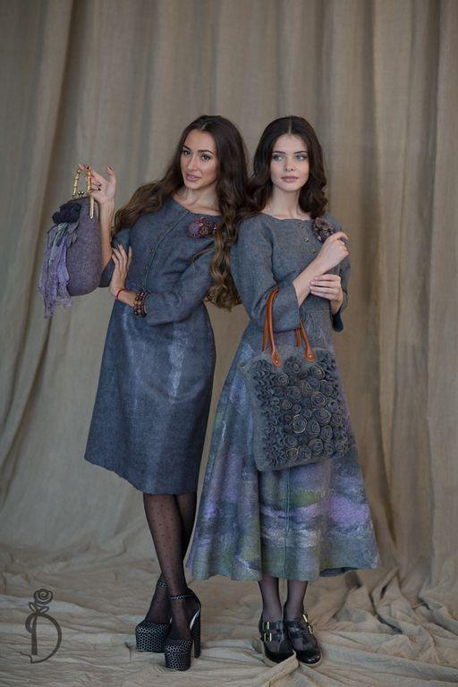 Купить или заказать Валяное платье «AUTUMN IN NEW YORK» в интернет магазине на Ярмарке Мастеров. С доставкой по России и СНГ. Материалы: шерсть, натуральный шёлк. Размер: 42-44