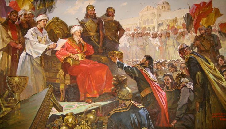 Umayyad Caliph al-Walid I present receiving a province, before the Umayyad Mosque he clapped .The Umayyad Caliph of Damascus al-Walid I (under his reign took place important conquests, as the conquest of andalusia, Kashi (turkestan) and India)