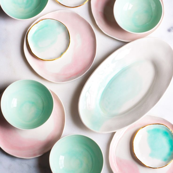inspiration// Dessert Plates in White with Rose Watercolor Swirl (set of two) – Suite One Studio