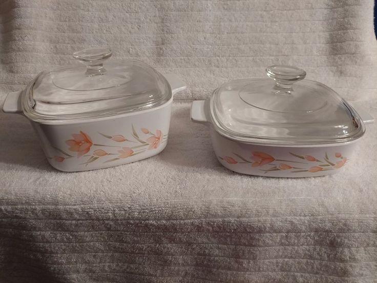 Corning Ware A-1-B & A-1 1/2-B Peach Floral Casserole Dish w/ Pyrex Lids #CorningWare