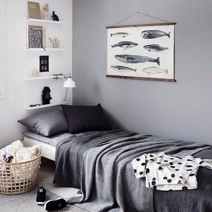Gray Teen Bedroom With Cool Whale Poster.