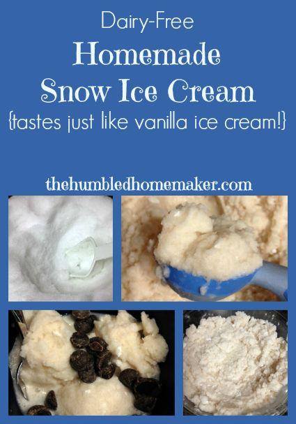 Dairy-Free Homemade Snow Ice Cream {tastes just like vanilla ice cream!} - The Humbled Homemaker