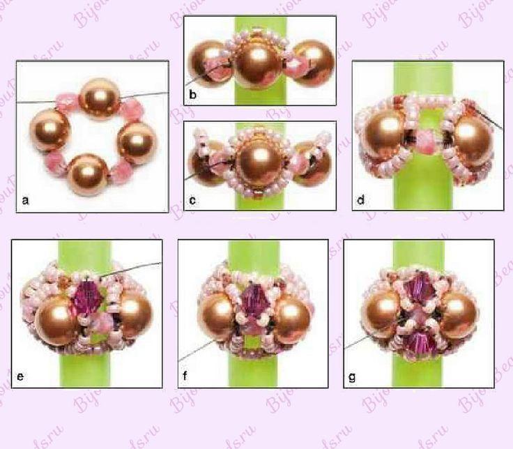 Схема плетения бисерных бусин: