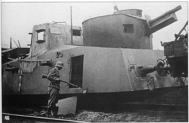 Russian Armoredtrain D-2 from the 73rd armored regiment of the NKVD , destroyed in battle on July 1, 1941. Byelorussia