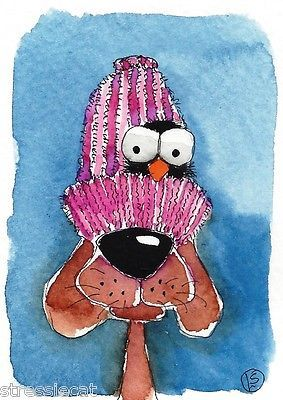 ACEO Original Watercolor Folk Art Illustration Whimsy Puppy Dog Crow Nest Hat | eBay