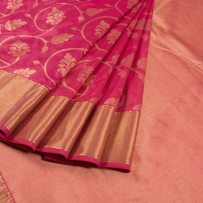 Buy online Handwoven Pink Kanjivaram Silk Saree With Floral Motifs 10013808