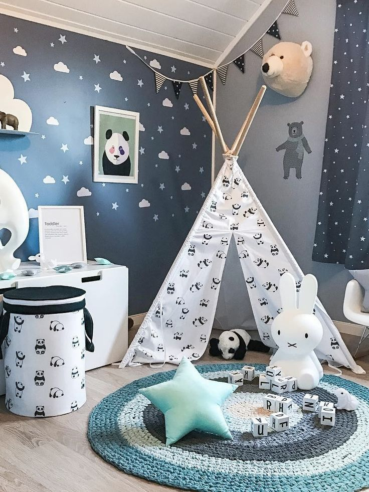 Kids tepee with pandas to buy on Etsy - HappySpaces workshop - black and white scandinavian teepee, tipi, wigwam with pandas, indoor outdoor play tent