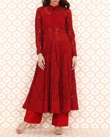 Rosy Red Embroidered Anarkali- Buy Suits,Anita Dongre Online | Exclusively.in