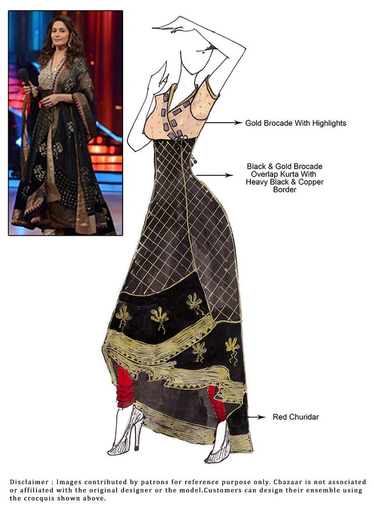DIY Black Madhuri Dixit Anarkali Suit