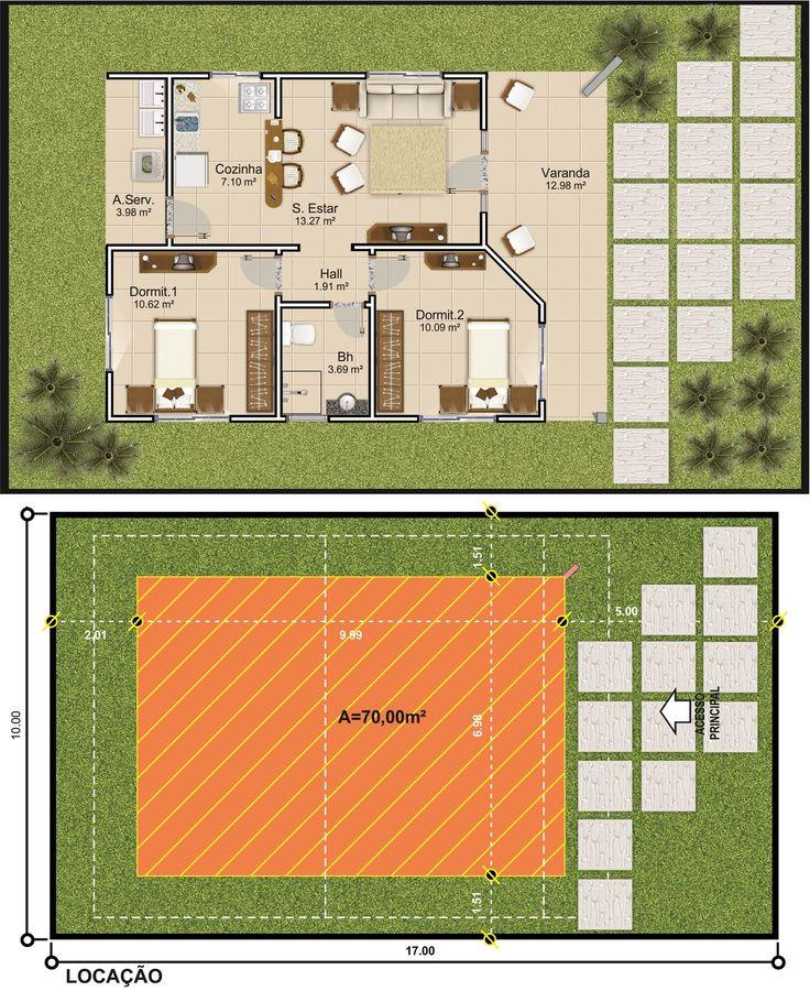 ProjetarCasas: Planta de Casas | Planta de casa térrea; 2 quartos, varanda e coz americana - Cód 44