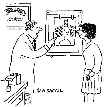 """*""""Your heart is slightly bigger than the average human heart,   but that's because you're a teacher.""""—Cartoon by A. Bacall*"""
