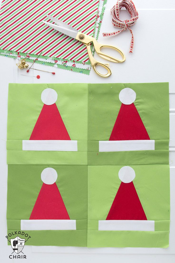 A quilting pattern showing you how to make Santa Hat Quilt blocks that can be turned into cute Christmas Quilt or Patchwork Christmas Pillow