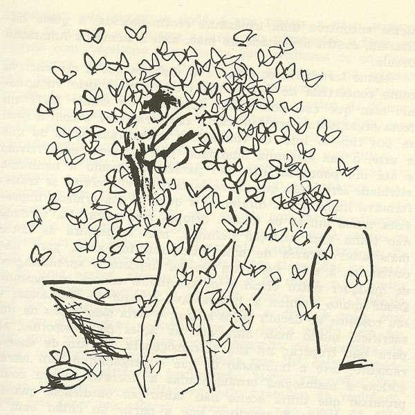 Meme Buendia y Mauricio Babilonia entre las mariposas amarillas (Cien años de soledad) -   Ilustración de Carybé.