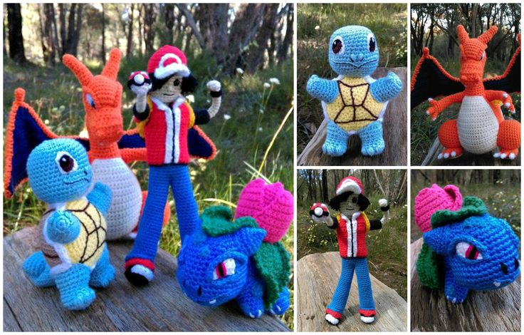'Squirtle', 'Charizard', Pokémon Trainer' and 'Ivysaur' - Collage.   Project information and pattern links here;   'Squirtle' - http://www.ravelry.com/projects/LindaDavie/baby-Squirtle  'Charizard' - http://www.ravelry.com/projects/LindaDavie/Charizard 'Ivysaur' - http://www.ravelry.com/projects/LindaDavie/baby-bulbasaur   No pattern for the Pokémon Trainer.