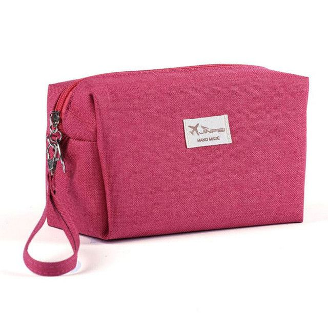 Canvas Women Cosmetic Toiletry Bag Clutch Handbags Makeup Make up Organizer Pouch Bag For Travel Trip Carry-on Companion Zipper