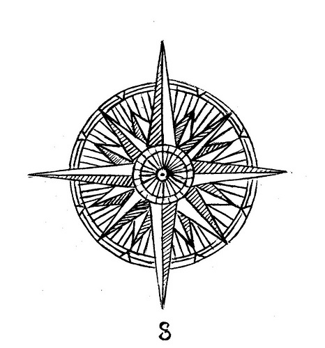 compass tattoo..something like this turned into a dreamcatcher