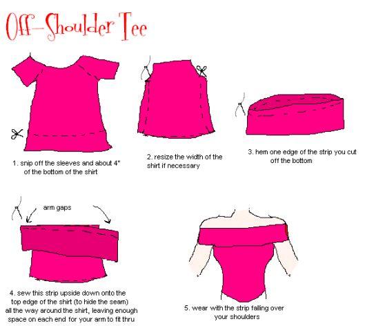 diy t-shirt one shoulder dress | Otra forma de reformar una camiseta es cortar flecos y agregar ...