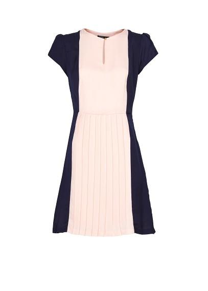 MANGO+-+Vestido+plisado+bicolor