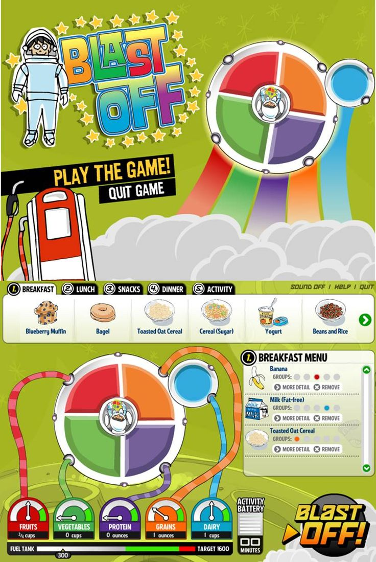 Blast Off! Fuel up your MyPlate spaceship by making healthy choices.  #Kids #Games #HealthEd