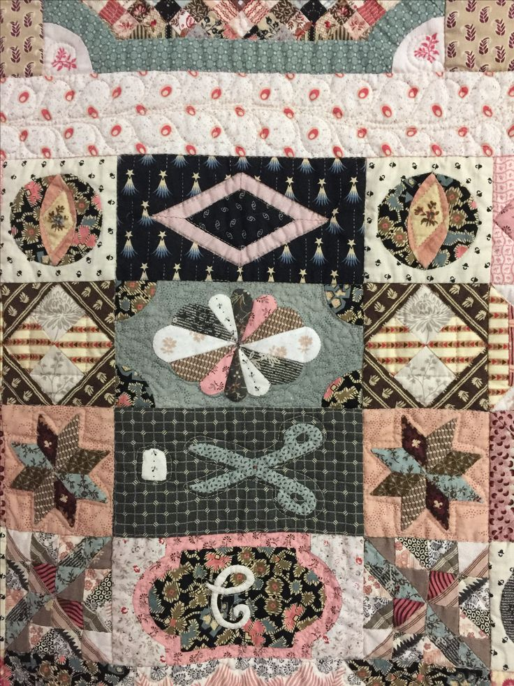 Some appliqued and hand pieced  blocks from the 1797 Sundial