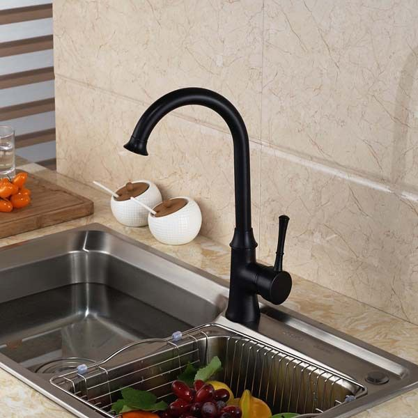 Oil Rubbed Bronze Swivel Spout  Kitchen Faucet Single Handle Deck Mounted #Affiliate