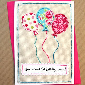 Balloons Girls Handmade Birthday Card