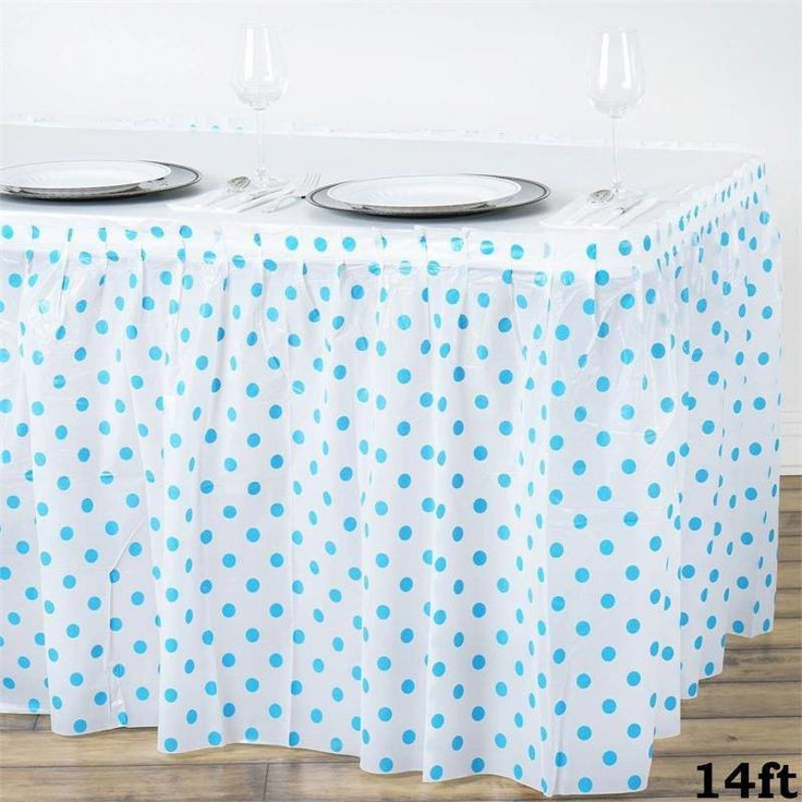14ft Perky Polka Dots Disposable Plastic Table Skirt - White / Serenity Blue   Bring a  sc 1 st  Pinterest & 92 best Disposable Tablecloths: Weddings Parties u0026 Events images on ...