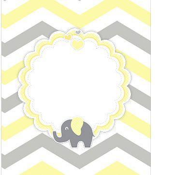 Tag Agradecimento Elefantinho Chevron Amarelo e Cinza Kit Festa