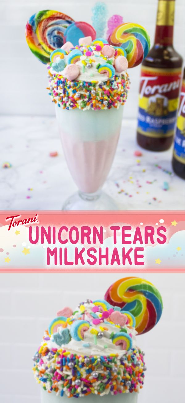 Take a ride on a rainbow with our Unicorn Tears Milkshake! We're so obsessed with this raspberry flavored milkshake and we think you'll be too! It's the perfect addition to any kid's birthday party or St. Patty's Day celebration! So grab your Torani Raspberry & Blue Raspberry Syrups + ice cream + milk and get started on this tasty and colorful treat!