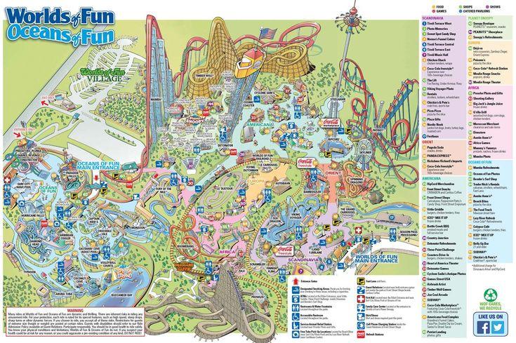 Worlds of Fun Park Map Worlds of Fun Amusement parks Pinterest World