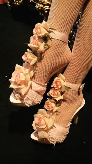 Himegyaru flower embellished heels. Shoe clips would be a great alternative.