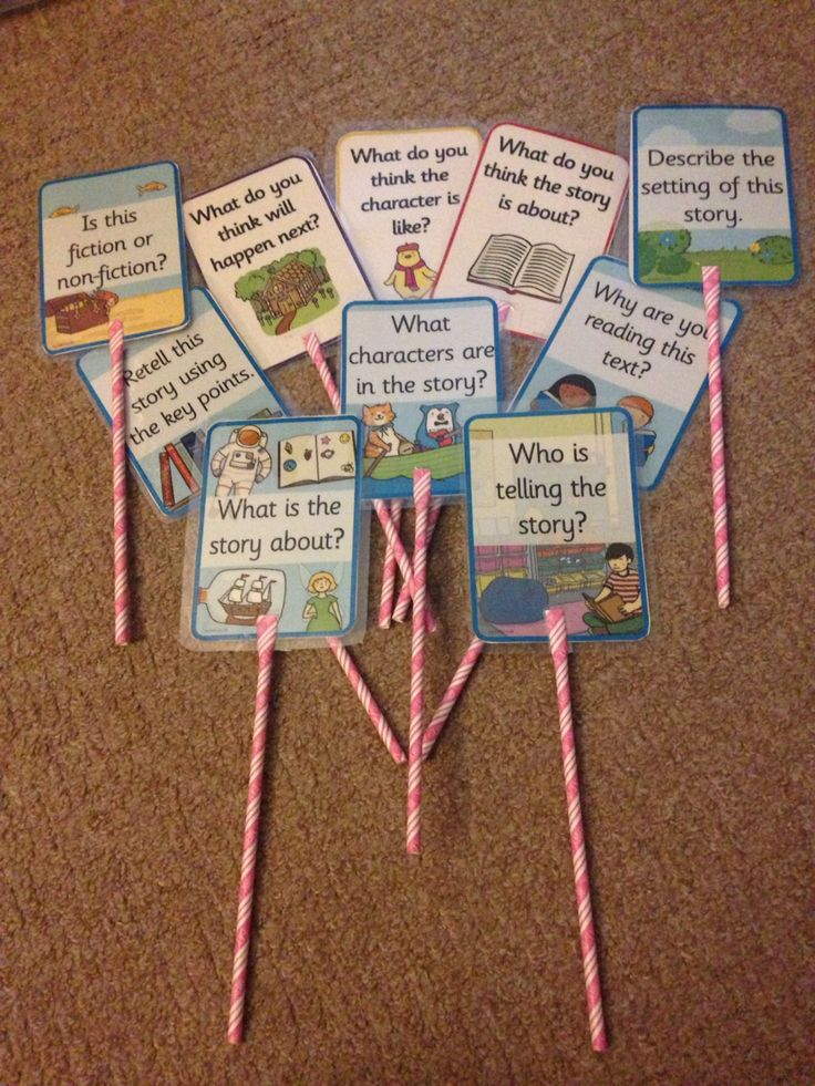 Reciprocal reading wands, print off your questions for reading comprehension suitable to any text. Laminate them, then cut straws at top and attach with tape. I keep mine in a bucket in the middle of reading area.