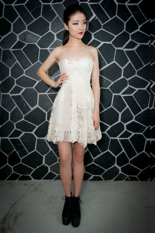 Image of Milky White/Lace Evening Gown