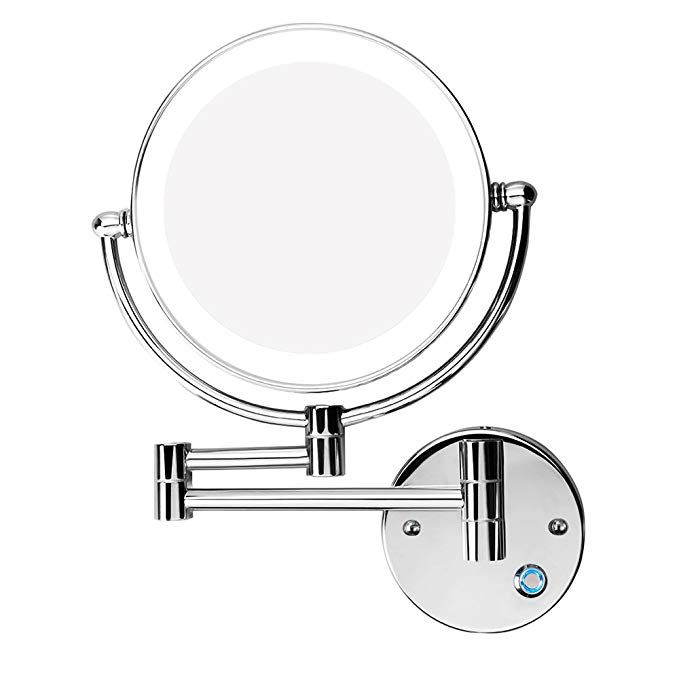 Excrst Wall Mounted Makeup Mirror Makeup Mirror Led Wall Mount Bathroom Mirror Wall Mirror 10x Magnification Cosmetic Mirror 8 Inch Review Wall Mounted Makeup Mirror Bathroom Mirror Wall Mounted Vanity