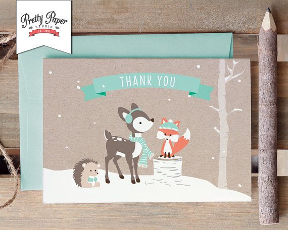 Winter Woodland Thank You Card // INSTANT DOWNLOAD // Gender Neutral Fox // Mint Baby Shower // Birthday Party // Printable BS04 bp04