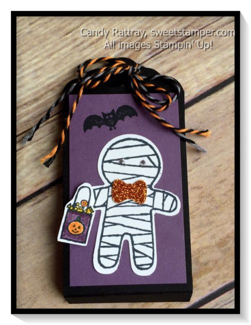 Quick and easy Halloween Treat featuring the Halloween Cookie Cutter stamp set and matching punch.  LOVE the Pumpkin Pie Glimmer Paper!
