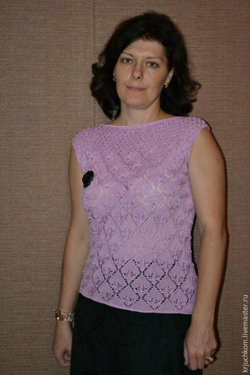 Купить Топ розово-сиреневый микс - розовый, однотонный, вязание спицами, вязание на заказ