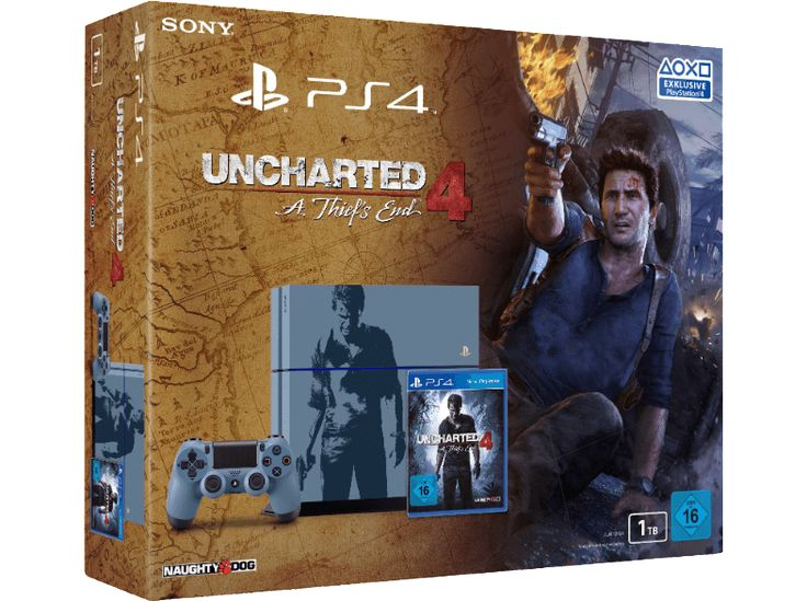 SONY PlayStation 4 Konsole 1TB CUH-1216B Limited Edition inkl. Uncharted 4 - A Thief's End PS4 Konsolen