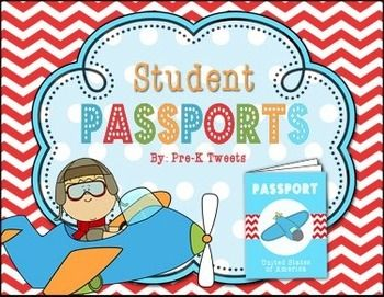 """This file contains cute passport covers and student info. inserts to go along with cultural studies or Christmas Around the World units! We use these passports in our pre-k class for our monthly """"discovery trips"""" to different countries! My students love holding their very own passport and collecting stamps from their travels."""