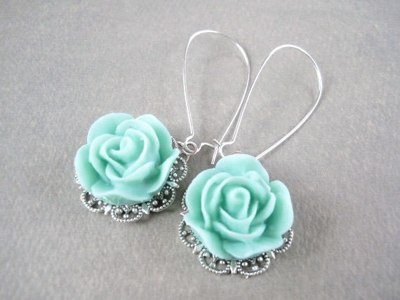 Tiffany blue rose drop earrings something old something for New mom jewelry tiffany