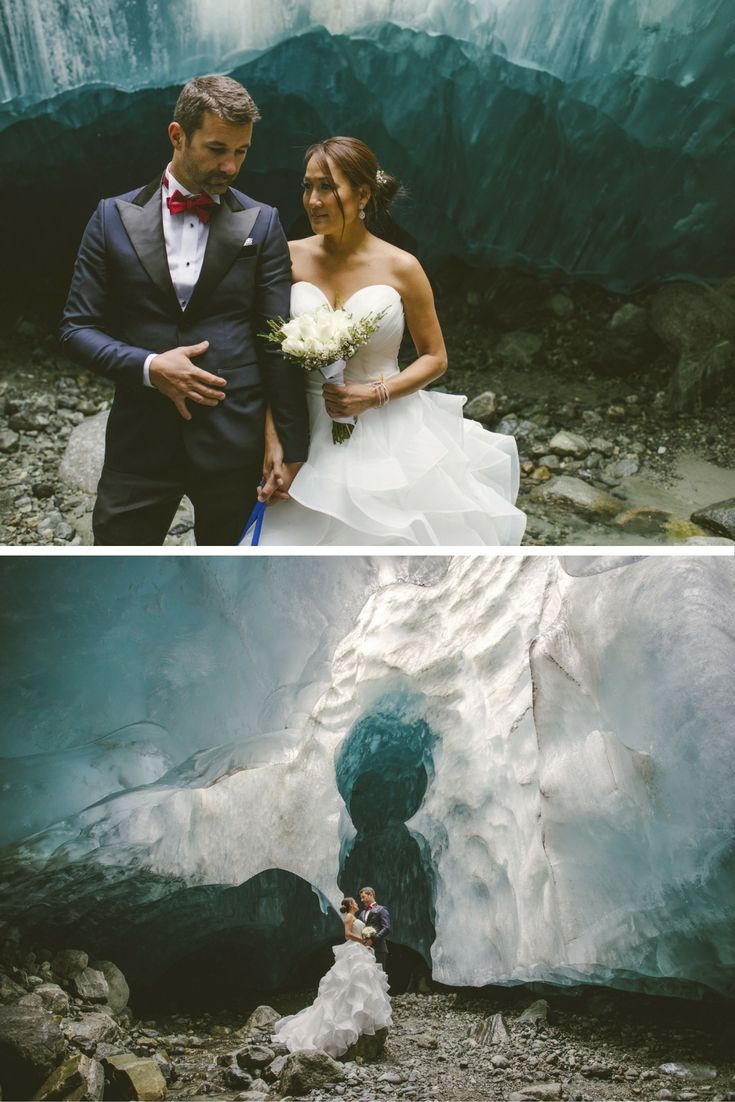Tristan Tanovan-Fox, 46, and Daniel Fox, 42, hired a helicopter to take their two witnesses, photographer Darby Margill and their 10-year-old dog to their ceremony in an ice cave in Canada.