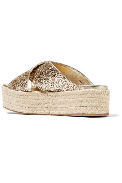 Miu Miu - Glittered Leather Espadrille Platform Sandals - Gold - IT40.5