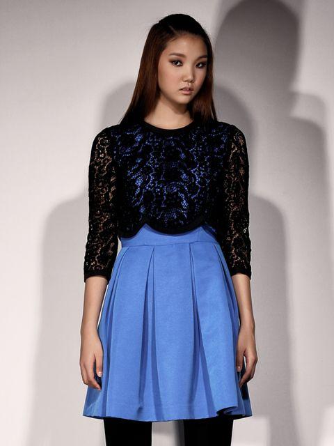 [WINTER SALE 10%쿠폰] Lace Layered Long Sleeve Dress_D2CMA4029M