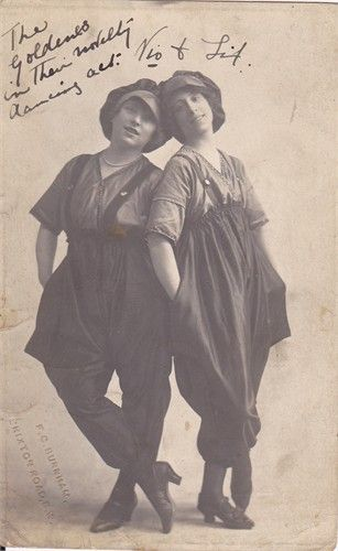 The woman on the left of the picture is my great grandmother, Pauline Maud Cuerton (nee Roefs).  She was half of a double act called 'The Goldens' who play the London Hippodrome in Leicester Square. Her stage name was Violet Golding.