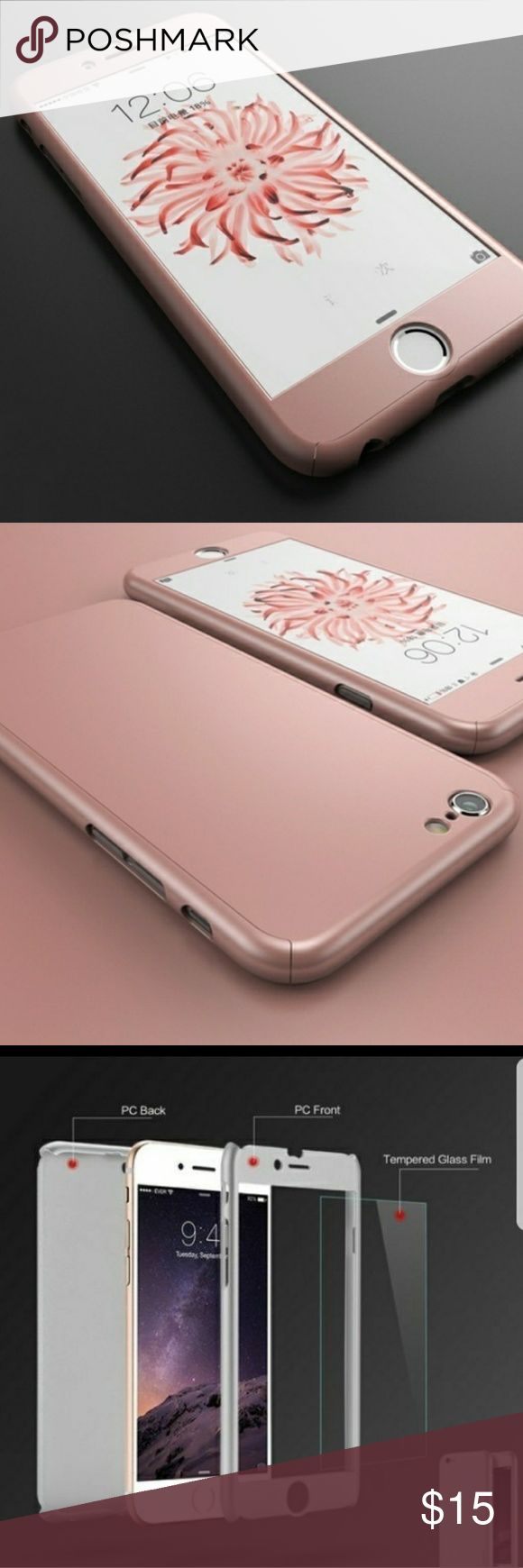 Sleek Rose Gold with Tempered Glass (IPhone 7/7+) Full Protection with a 360 degree case including Tempered Glass  For IPHONE 7/IPHONE 7 PLUS  Please be sure to specify for which iPhone you're purchasing upon sale of item. Accessories Phone Cases