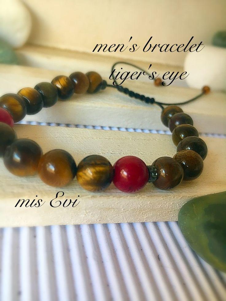 Men's bracelet handmade tiger's eye
