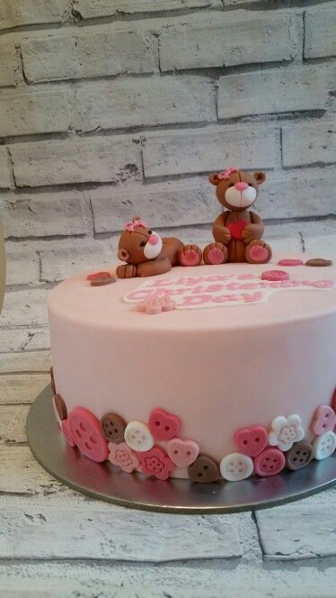 Teddy bear Christening cake for girl
