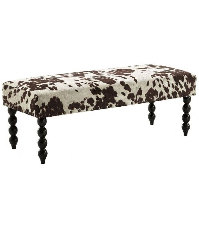 Brown & White Cowhide Fabric Bench